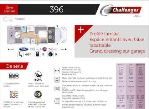 camping-car CHALLENGER GENESIS 396  intérieur / couchage principal